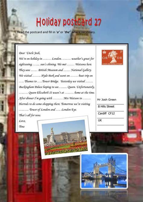 holiday postcard  worksheet  esl printable