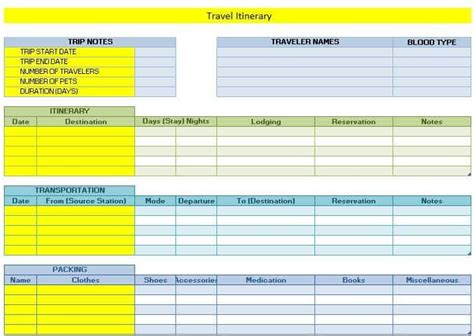 travel itinerary templates word excel templates
