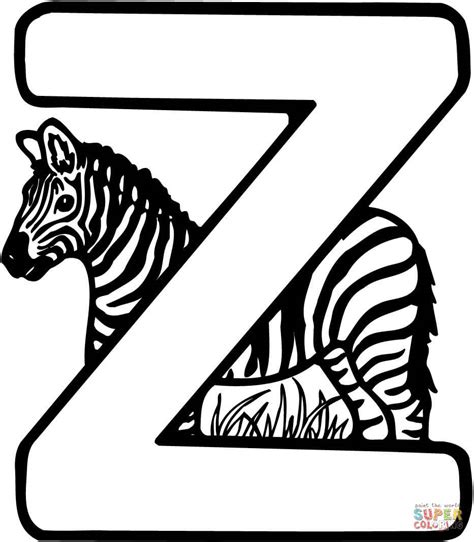 colors a to z letter z is for zebra coloring page free printable