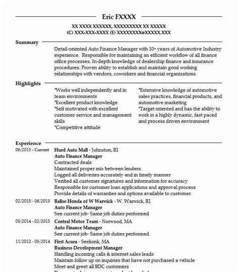 Finance Manager Resume by Auto Finance Manager Resume Sle Manager Resumes