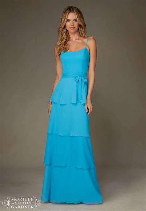 bridesmaid dresses  mori lee style  long chiffon dress