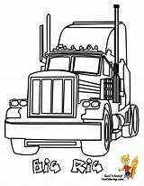 Coloring Truck Pages Rig Easy Colouring Boys Yescoloring Wheeler sketch template