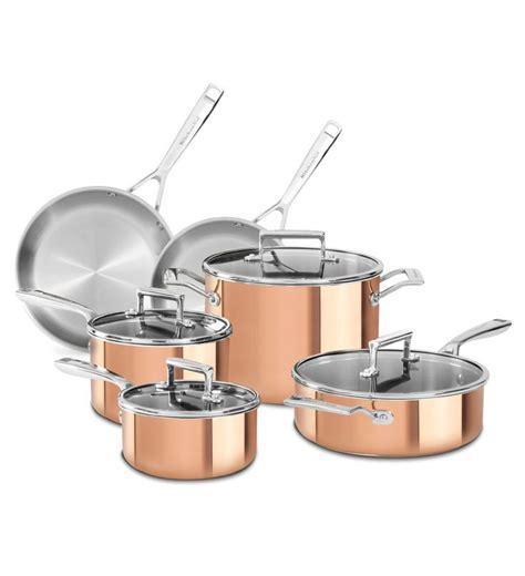 kitchenaid tri ply copper  piece set  images copper cookware set cookware set