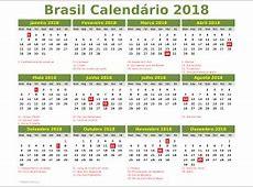 Calendario 2018 brasil 2019 2018 Calendar Printable with