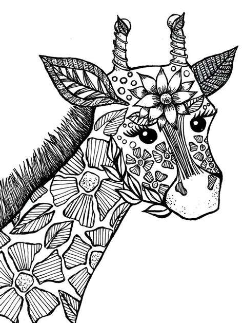 giraffe adult coloring book page drawings ive  pinterest adult coloring coloring