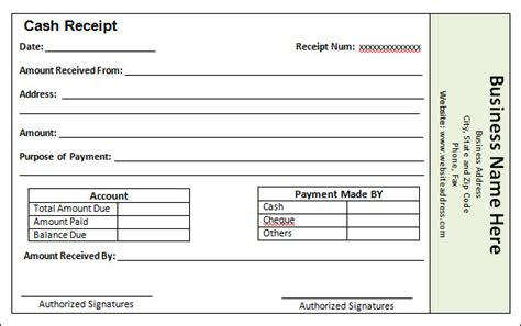 Blank And Editable Cash Receipt Sample For Customer
