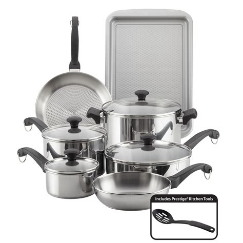farberware stainless steel pots classic pans cookware piece traditions walmart