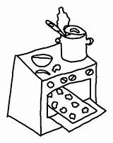Coloring Baking Oven Cookies Bake Sheets sketch template