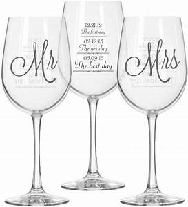 mr and mrs wine glasses 2 with first day yes day and With personalized wine glasses wedding gift