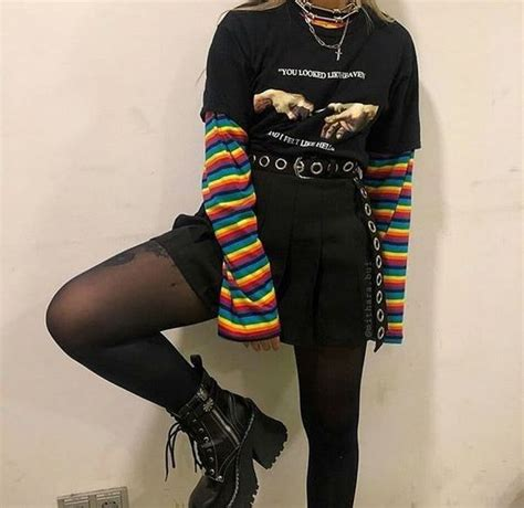 dark fashion   aesthetic grunge outfit retro