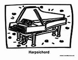 Harpsichord Coloring Pages Music Instrument sketch template
