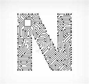 letter n circuit board on white background stock vector With circuit board medic