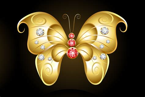 gold butterfly  red  white  ultra hd wallpaper