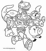 Coloring Toy Story Pages Disney Colouring Buzz Rex Lightyear Slinky Dog Hamm Printable Boys sketch template