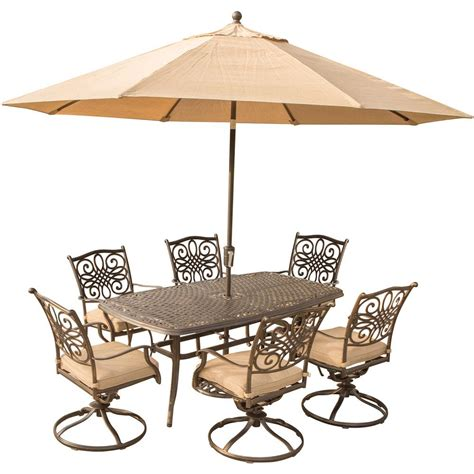 blue outdoor table and chairs hanover 7 piece outdoor dining set with rectangular cast