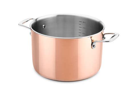 ducq pot au fea deep casserole  cm  lid  handles copper culinaire