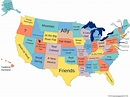 Literal meaning and origin of US state names. | Map of ...