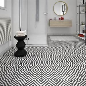 Salle De Bain Carrelage Noir : carrelage sol et mur noir blanc effet ciment d ment x ~ Dailycaller-alerts.com Idées de Décoration