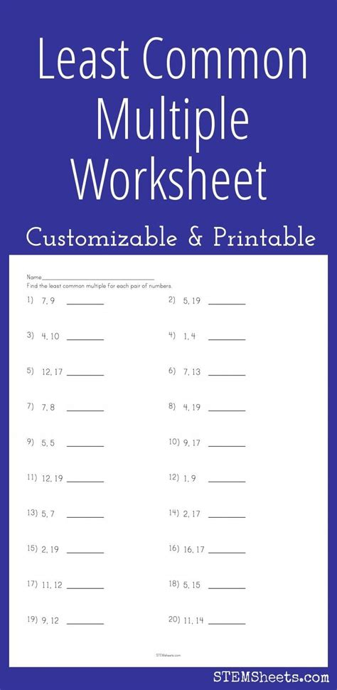 least common worksheet customizable and