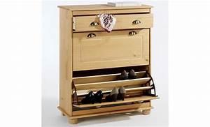 Meuble Chaussure Pas Cher : meuble rangement chaussures basil pin lasur blanc ~ Carolinahurricanesstore.com Idées de Décoration
