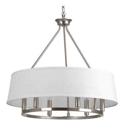 brushed nickel drum chandelier progress lighting cherish brushed nickel pendant light