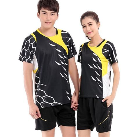 2015 new wicking clothing table tennis shirts badminton volleyball clothes men and women short ...
