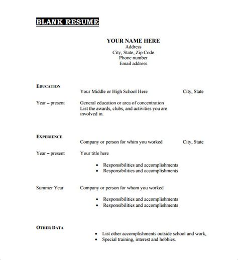 free template for resumes to download 45 blank resume templates free samples examples