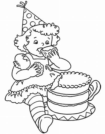 Coloring Cake Birthday Pages Chocolate Eat Drawing