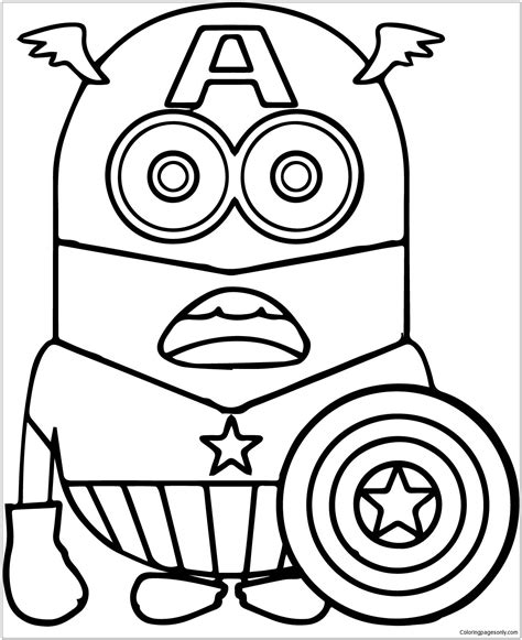 Kaptain Amerika Kleurplaat by Minion Captain America 1 Coloring Page Free Coloring
