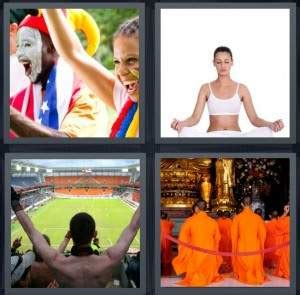 4 pics 1 word cheats 5 letters 4 pics 1 word answer for fans meditate stadium monks 33716