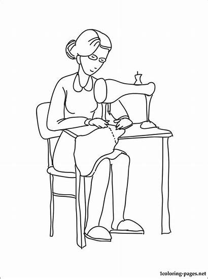 Coloring Seamstress Pages Profession Occupation Professions Printable