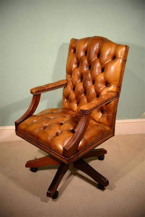 handmade gainsborough leather desk chair cognac