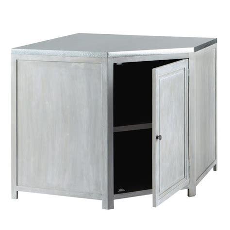 meuble bas d angle de cuisine en bois d acacia gris l 99 cm zinc