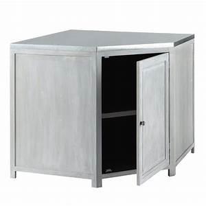 Meuble Angle Bois : meuble bas d 39 angle de cuisine en bois d 39 acacia gris l 99 ~ Edinachiropracticcenter.com Idées de Décoration