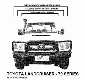 Toyota 70 Series Landcruiser Manual Towing Mirrors Chrome