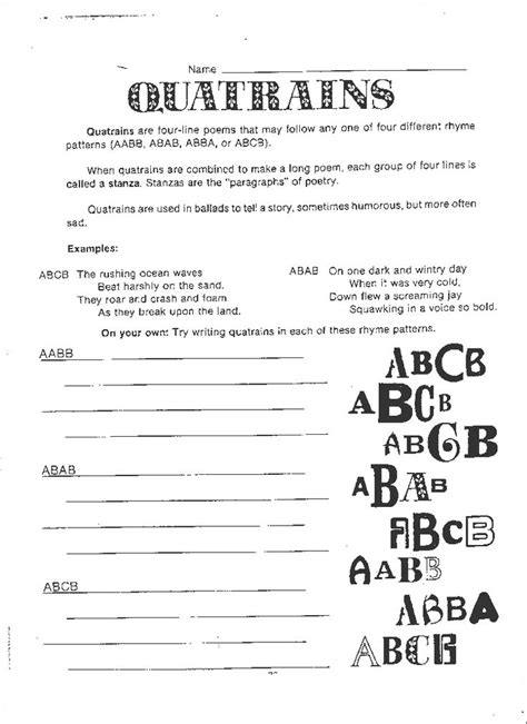 writing quatrains worksheets 51 best poetry resources images on poem