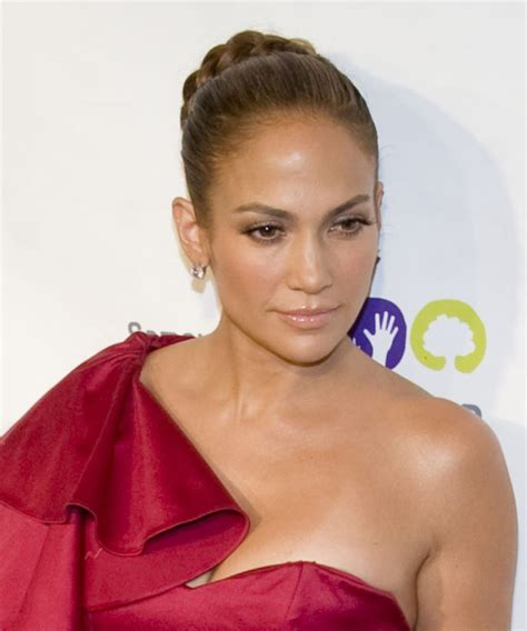 jennifer lopez formal long curly braided updo hairstyle
