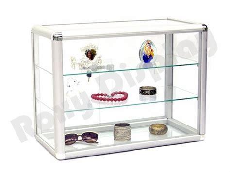 countertop jewelry display locking silver aluminum frame sliding glass countertop