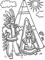 Coloring Indian Pages Printable Sheets Coloringpages1001 American Native sketch template