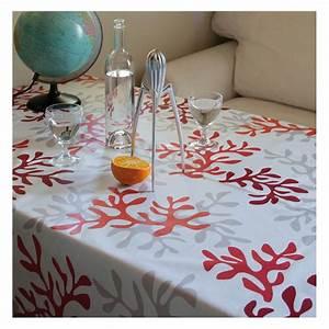 Nappe Ovale Enduite : nappe enduite corail rouge fleur de soleil ~ Teatrodelosmanantiales.com Idées de Décoration