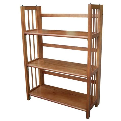 Stackable Bookcases by Yu Shan 3 Shelf Folding Stackable Bookcase Honey Oak
