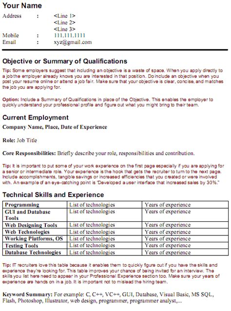 Key Words On A Resume by Stafflink Solutions It Resume Template Optimize