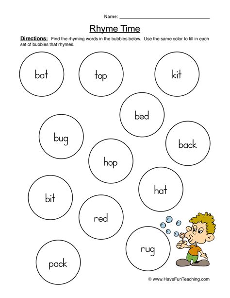 rhyming worksheets teaching