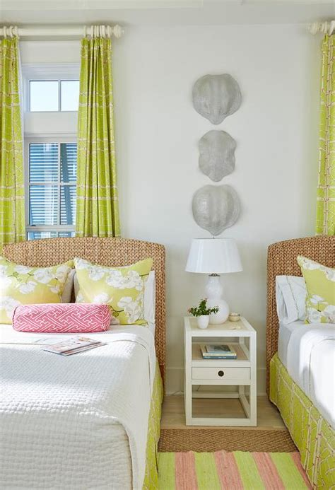 chartreuse green curtains  seagrass headboard