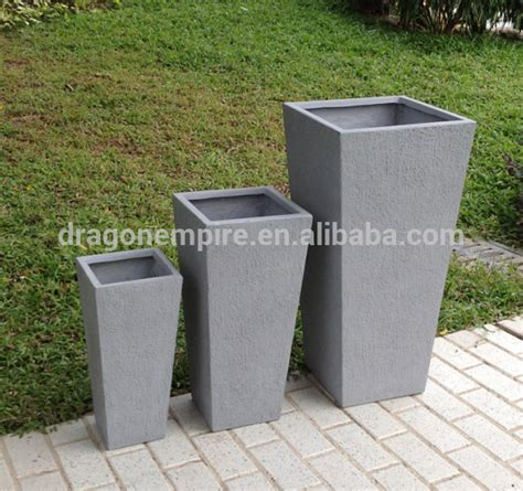 outdoor square textured fiberglass cement garden