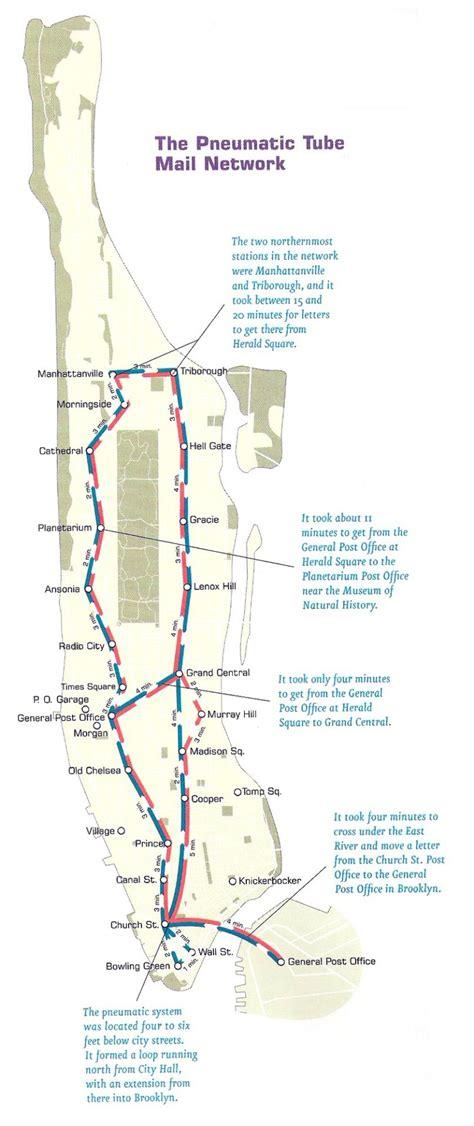 Historical Map New York City's Pneumatic Tube
