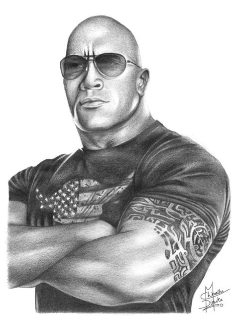 Pencil Drawings Of Famous People  The Rock Pencil Drawing