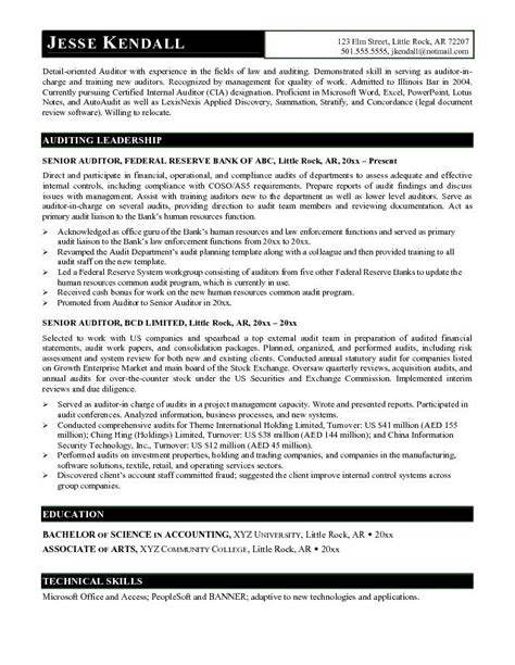 exle senior auditor resume free sle