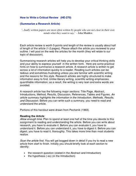Articles On Resume Writing 2015 by Scientific Article Review Format How To Write Resume