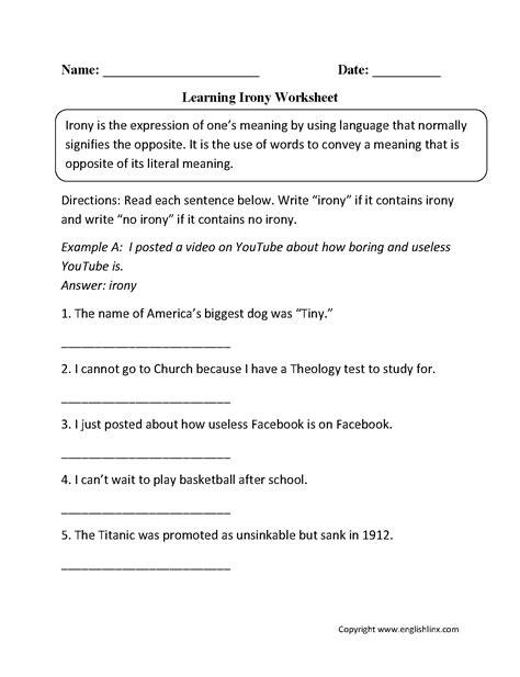 worksheet figurative language worksheets high school